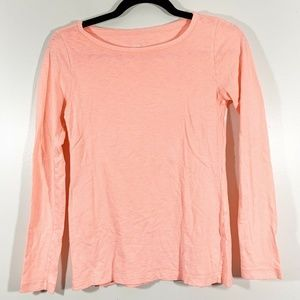 J Crew Bright Coral Pink Long Sleeved Paint T Tee